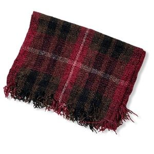 Red and Black plaid winter scarf